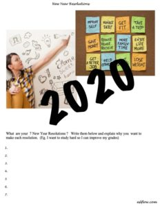New Year resolutions worksheet for students.