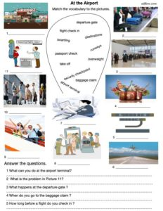 Common airport and airline phrases and expressions and language and speaking exercise for ESL students.