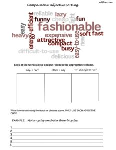 Comparative adjective sorting exercise for English language grammar students.