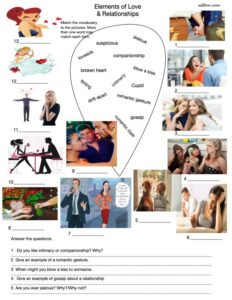 Love and relationships vocabulary and questions for English language students.