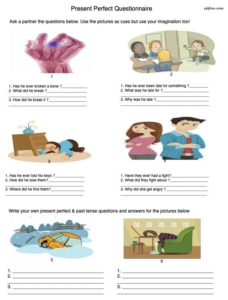 Present perfect questionnaire speaking activity
