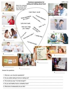 Language and speaking activity for using common expressions to talk about food and eating.