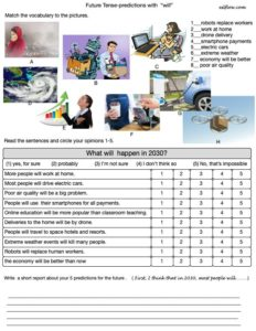 """Making predictions questionnaire for students using """"will"""""""